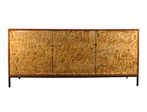 Art door cabinet, Gold Graffiti, art by Murray Duncan