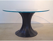 Brutalist Style pedestal table, steel and sapphire glass, custom size/finishes available