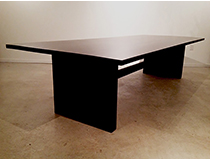 'Ebonized' Salvage wood, double pedestal dining table, custom sizing/finishes available