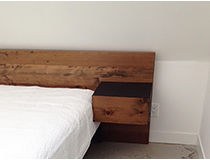 Custom salvage wood bed and floating nightstand, custom sizing/finishes available