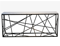 Nest Console, steel frame powder coated, honed marble top, custom sizing/finishes available
