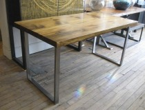 Pine Table w/ Square Steel Frame - 4'x6' - 48